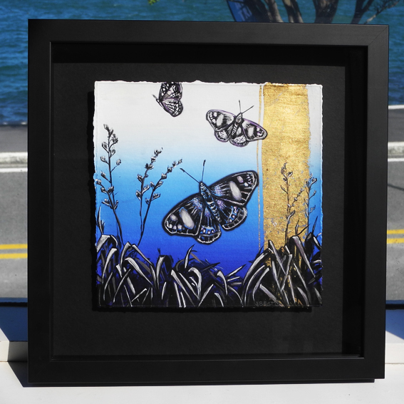 Butterfly Gold Iconic Series  - 34 X 34cm - Gold Leaf & Inks - NZ timber framed