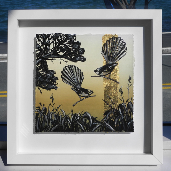 Fantail Gold  White Iconic Series  - 34 X 34cm - Gold Leaf & Inks - NZ timber framed