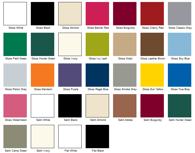 Paint color options.  Includes Clear Coat.    BTW:  You might want to keep this open in another window during checkout.