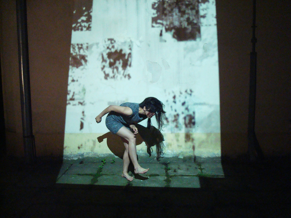 Experimenting with mixed media, D'CLINIC Studios residency, Slovenia, 2013. Projection by Paloma Ayala.