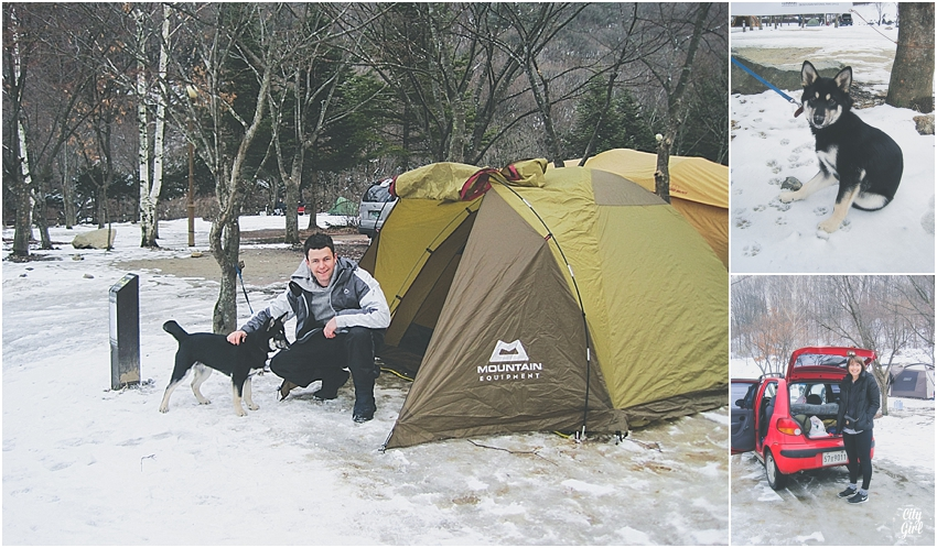 SkiingMujuResortSouthKoreaCampingInTheSnow