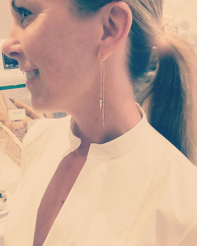 HUTCH GIRL Jeanine gorgeous in her Diamond Pistol chain drop earrings @carbonandhyde . Business to evening, effortlessly chic always.