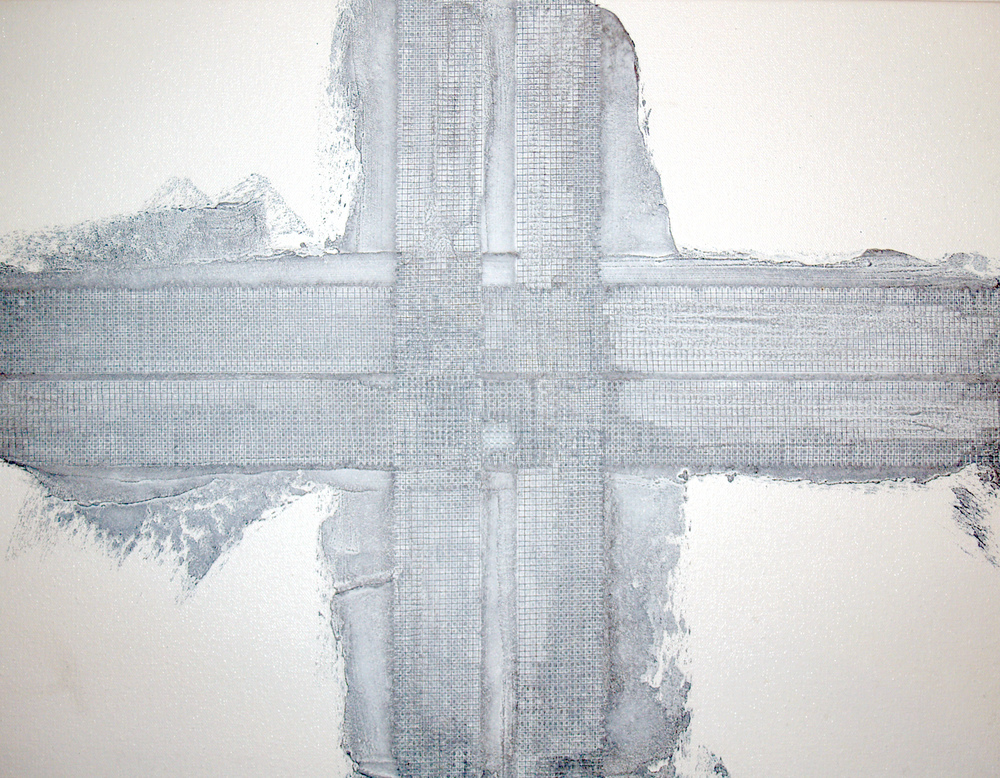 Oil, mesh, cement on canvas / 24x 24 inches