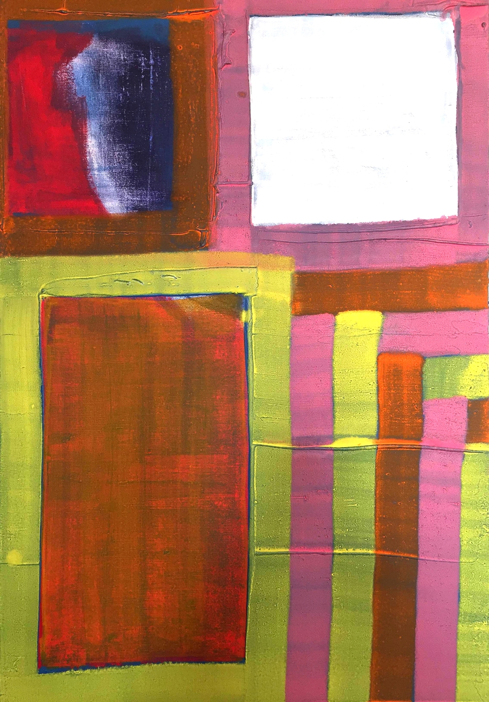 mixed media, painted screen on canvas / 24 x 36 inches