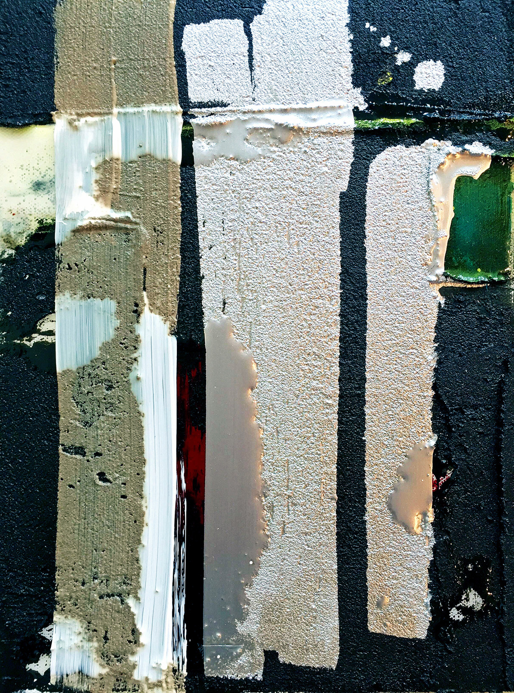 Mixed Media / Divergence XXXI / Oil, aluminum paint, asphalt, resin on canvas / 11 x 14 inches