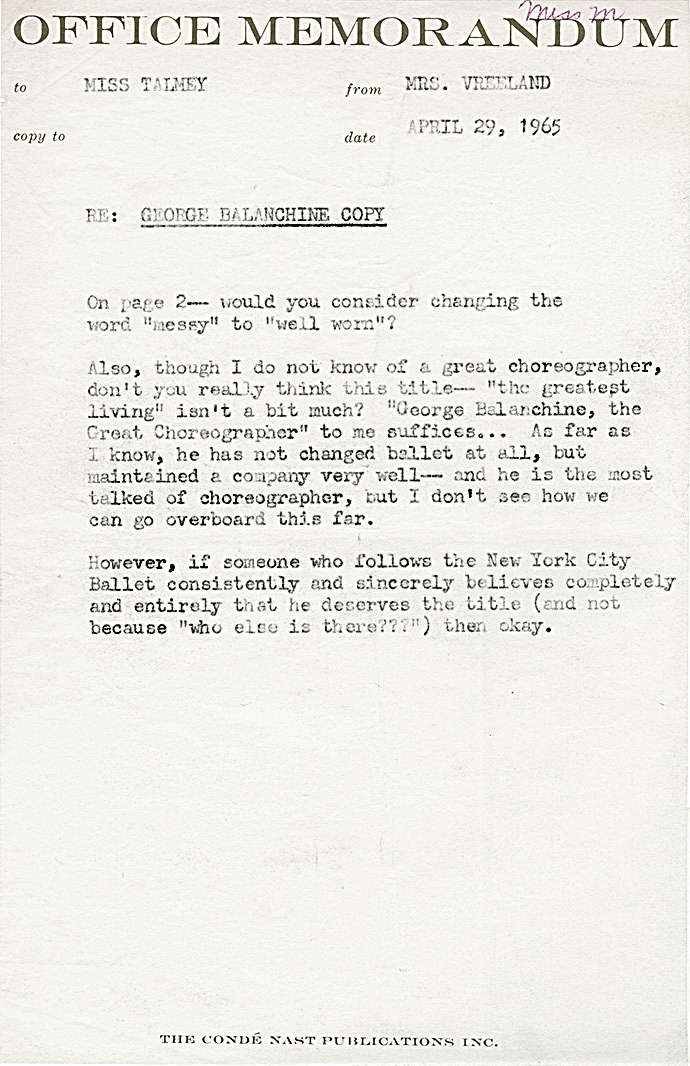 Diana Vreeland Memos The Vogue Years