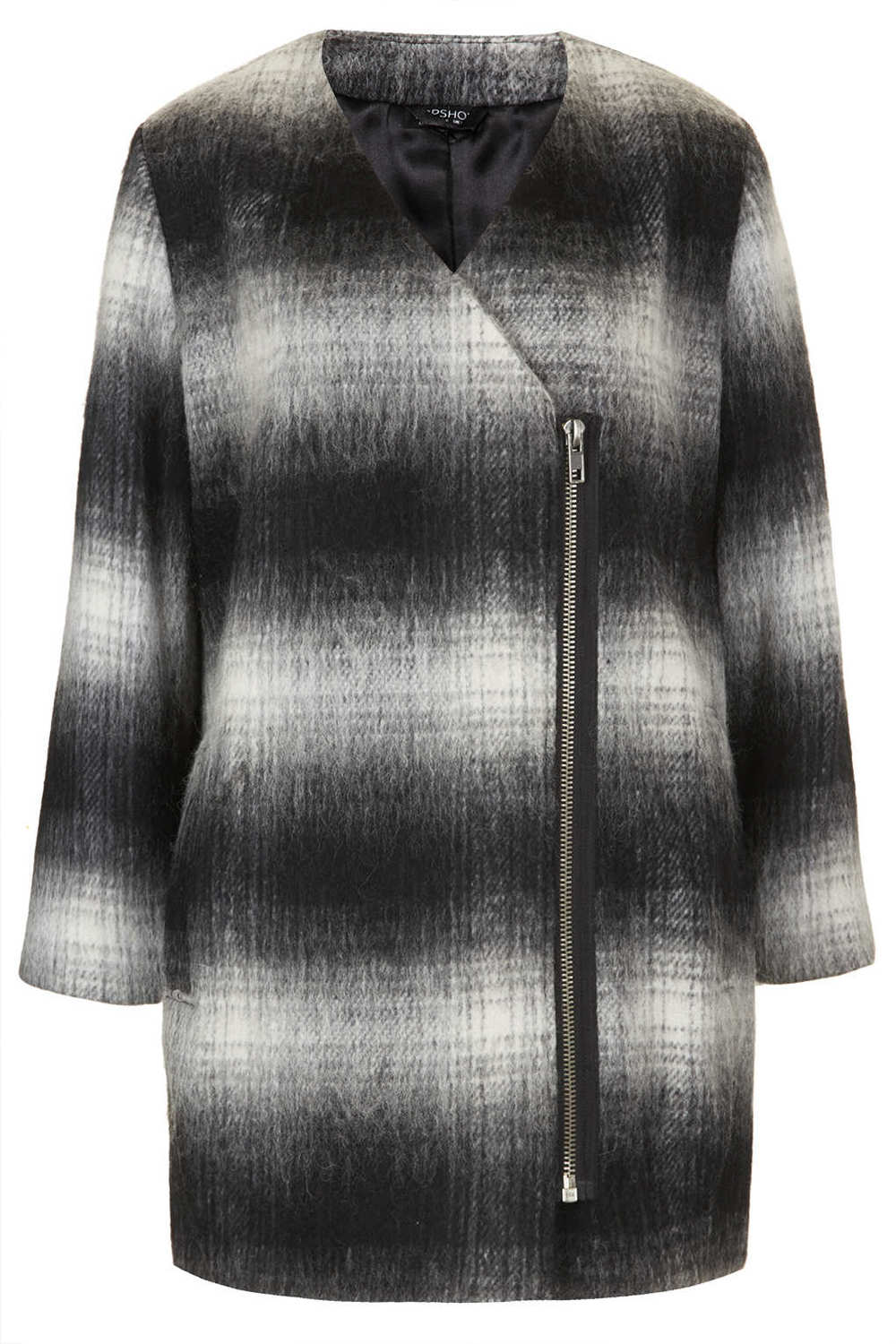 Plaid Biker Coat by Topshop