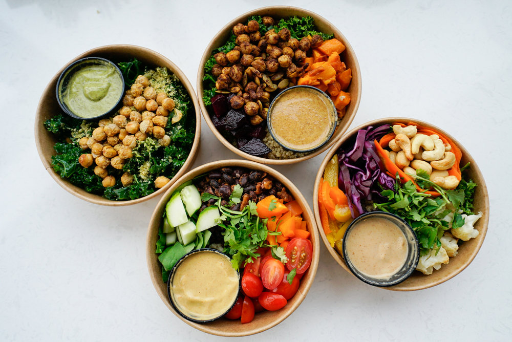 Convenient Nutrition - Serving up a Classic Kale Salad, Burrito Bowl, Moroccan Spice Bowl + Cashew Thai bowl.