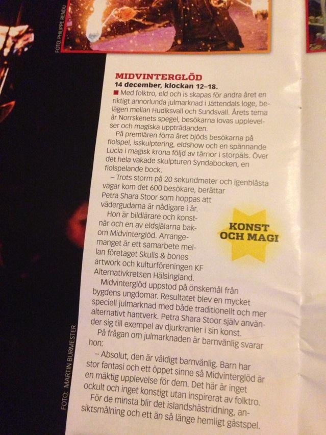 Midvinterglöd - intervju med Petra Shara Stoor i den skånska tidningen ATL. www.atl.nu