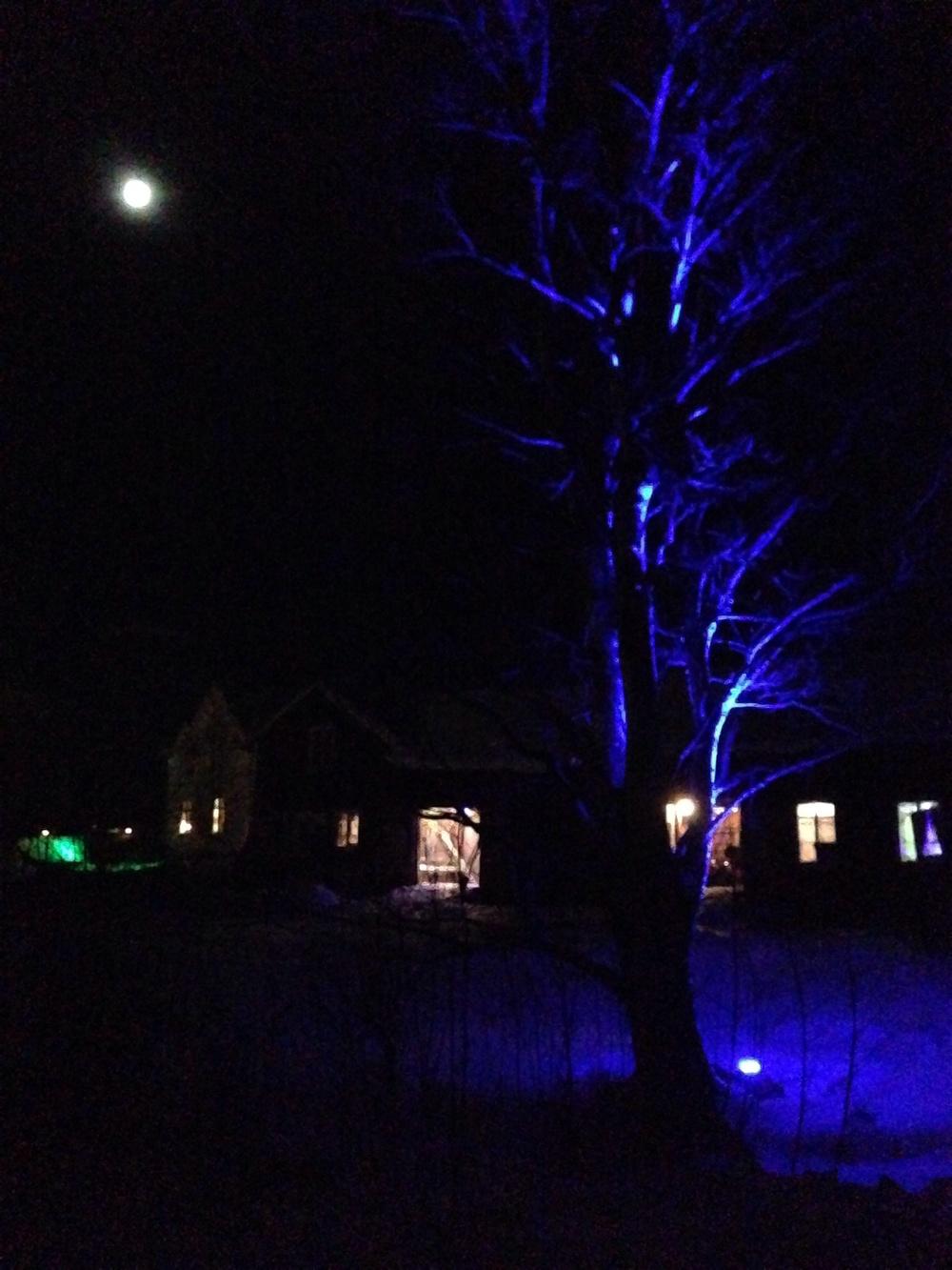 Testar lite av all vår belysning för årets Norrskenstema.