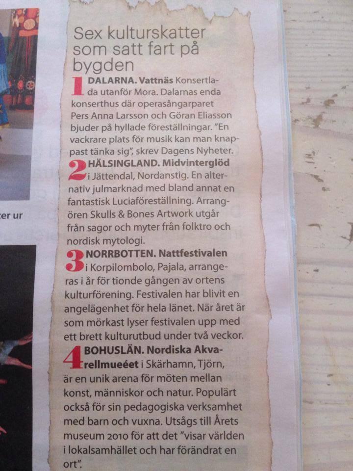 Tidningen Land listar Midvinterglöd som en av sex kulturskatter som satt fart på bygden!!