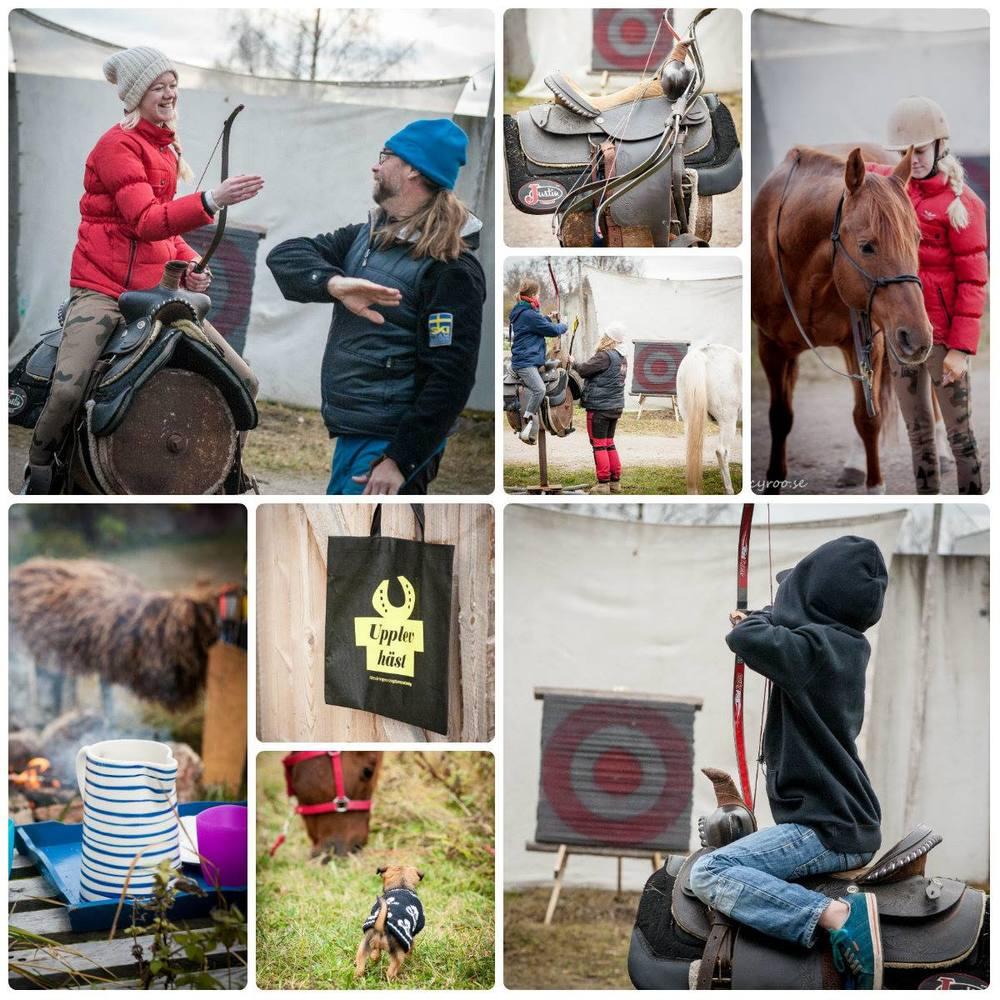 """Under Midvinterglöd ges våra besökare möjlighet till att prova på beridet bågskytte på hästattrappen """"Brutus"""". Något för små och stora besökare att testa på!"""