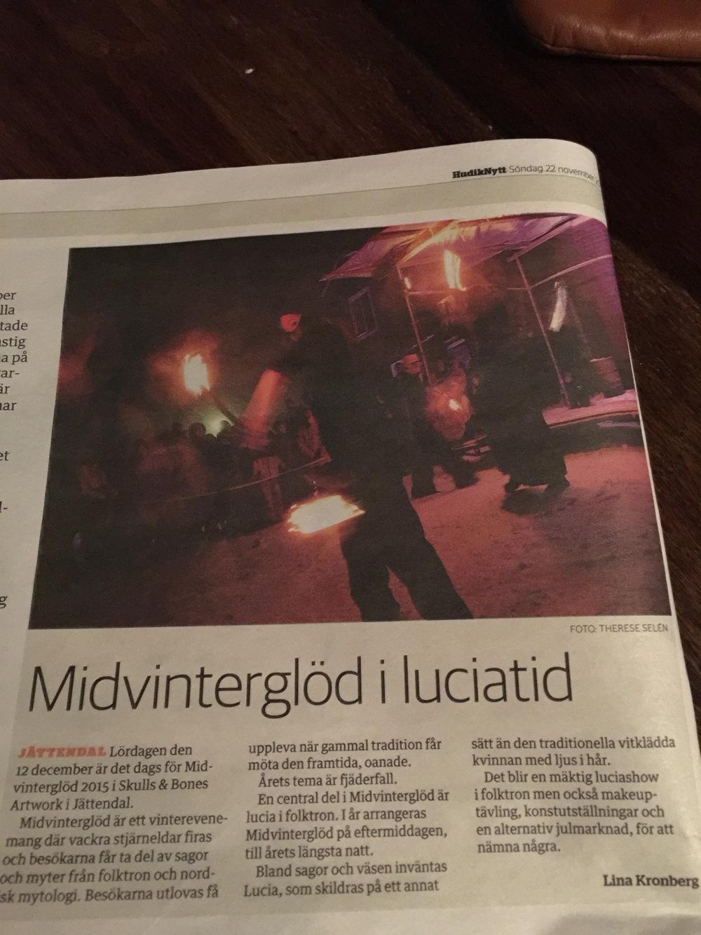 Midvinterglöd artikel i HudikNytt.