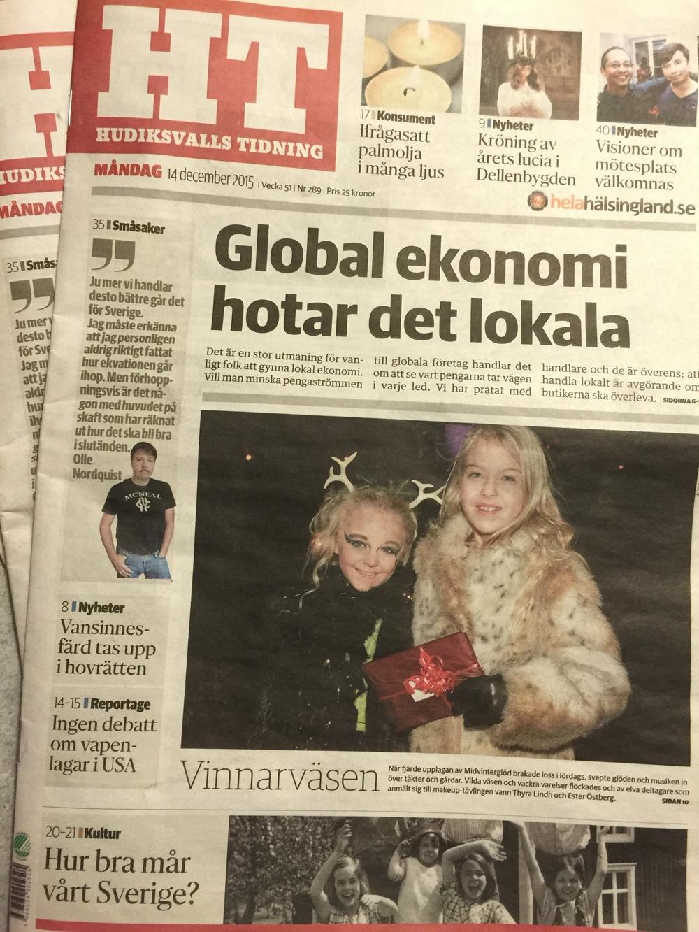 Midvinterglöd 2015 - FjäderFall på Hudiksvalls Tidnings första sida!