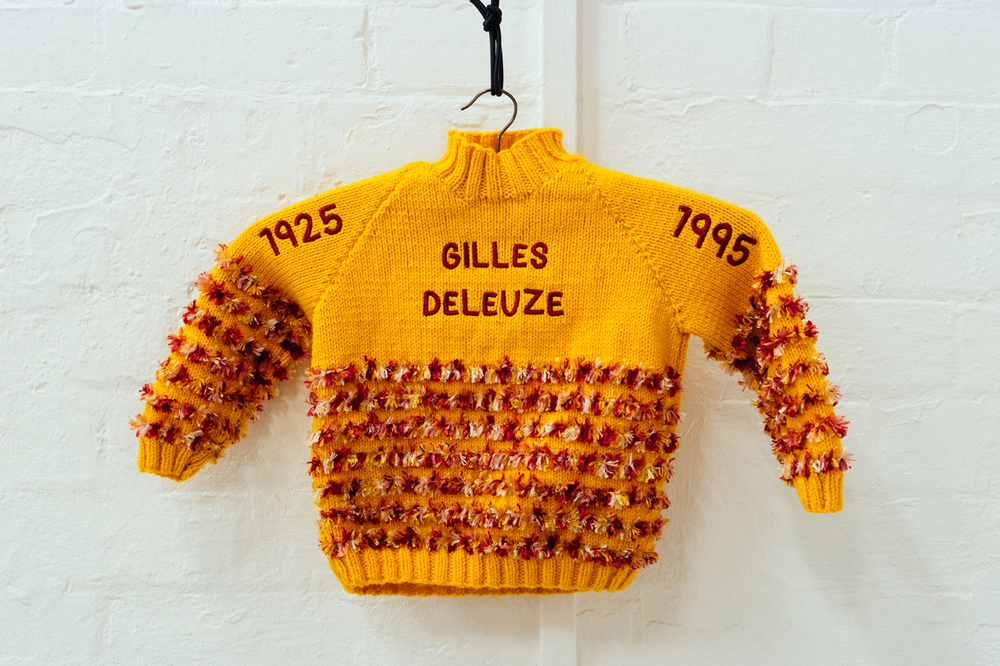 Gilles Deleuze , Found child's jumper with embroidered text, 2015