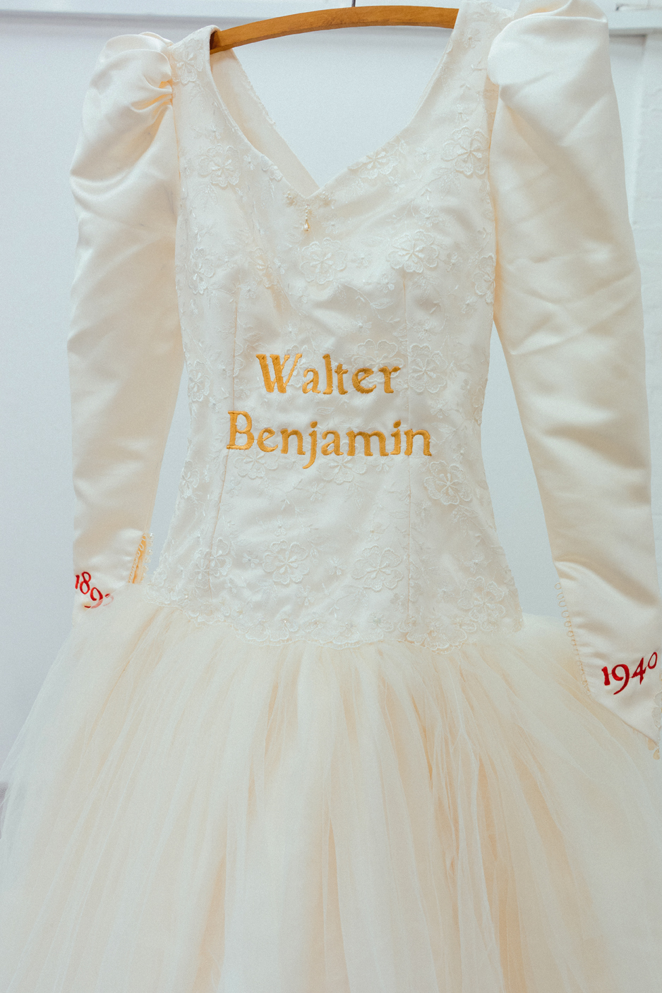 Walter Benjamin , Found wedding dress with embroidery, 2015