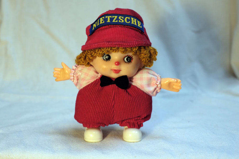 Nietzsche , Found doll with embroidered tag, 2015