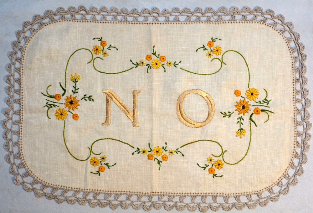 No , Found doily with embroidery, 2015