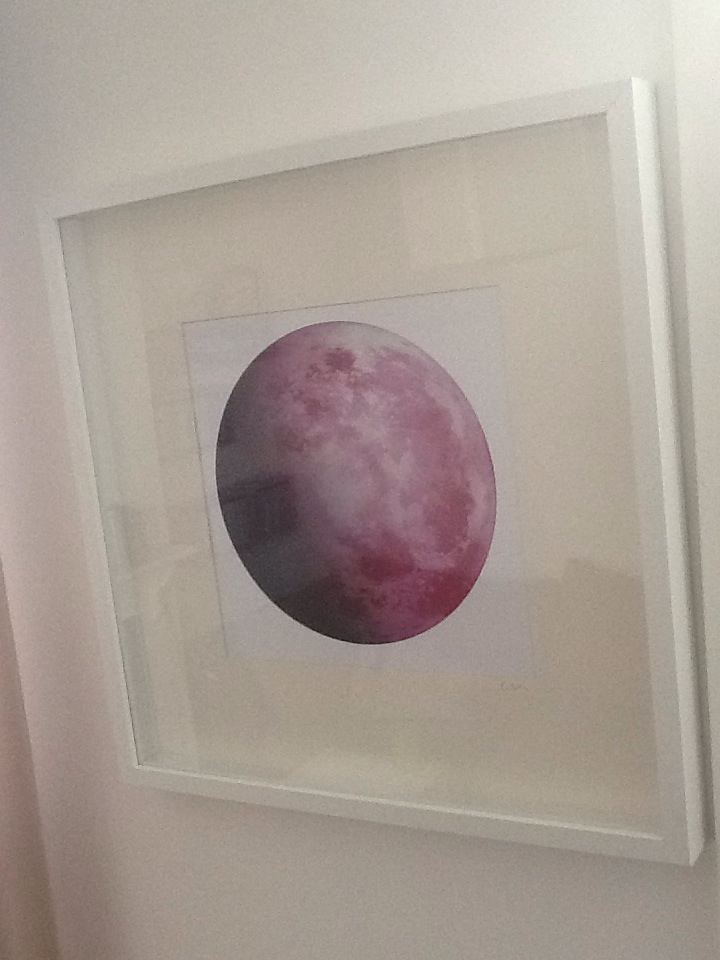Moon series  Developed from a 1920's picture slide this moon has been created by me.   Pink moon £2200  blue moon £2200