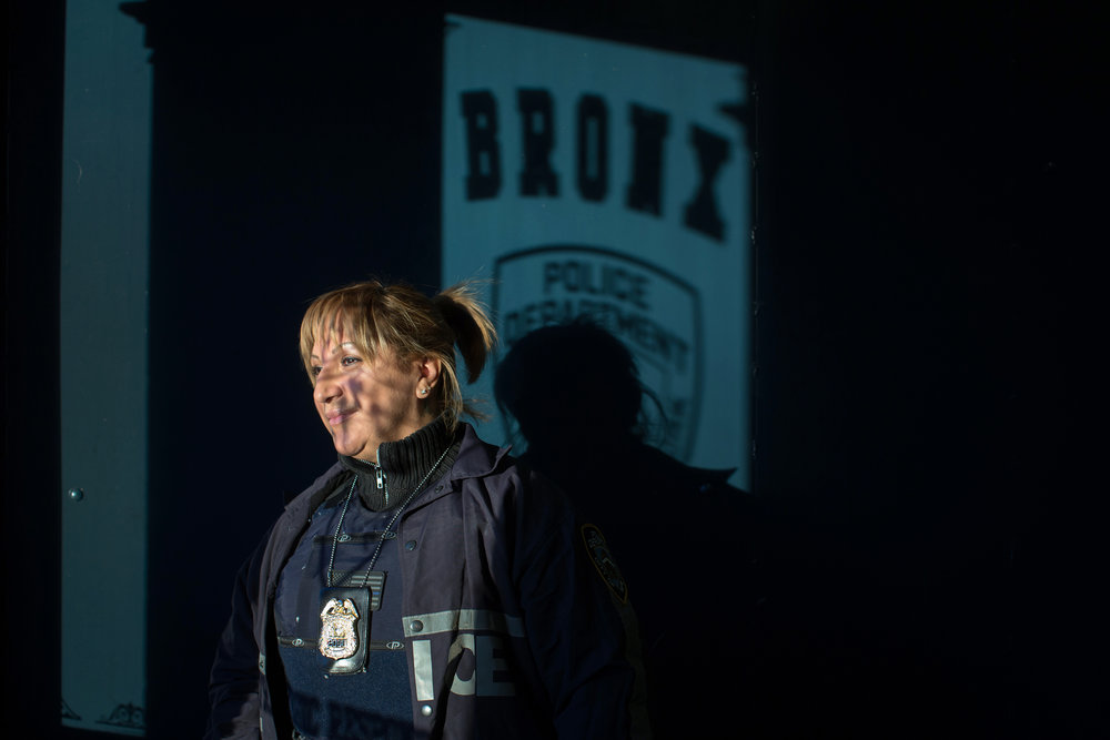 NYPD Sgt. Janet Cruz photographed at the old 44th Precinct in the Bronx.