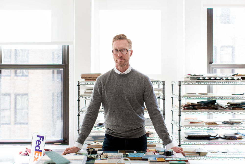 Interior architect Martin Brudnizki photographed in his Manhattan design studio.