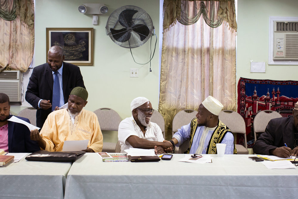 Muslim leaders of The Majlis Ashura (Islamic Leadership Council) of New York gathered at Masjid Omar Ben Abdel-Aziz in Jamica, Queens on Wednesday evening following the murder of Imam Maulana Akonjee and his associate Thara Uddin on Saturday.