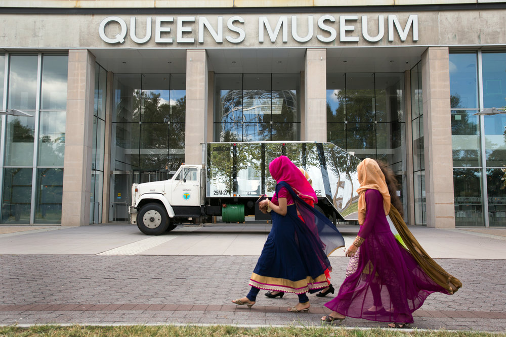 "A sanitation truck covered in mirrors make up an artwork titled ""Social Mirror"" by artist Mierle Laderman Ukeles on view at the Queens Museum"