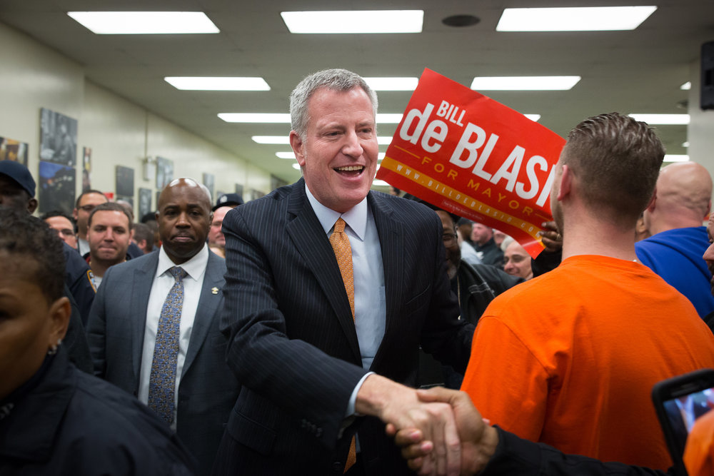 Mayor Bill de Blasio greeting members of the Uniformed Sanitationmen's Association, International Brotherhood Of Teamsters Local 831 during an announcement in support of Mayor Bill de Blasio's reelection in 2017 in Lower Manhattan. The union is the first endorsement of any candidate in the race.