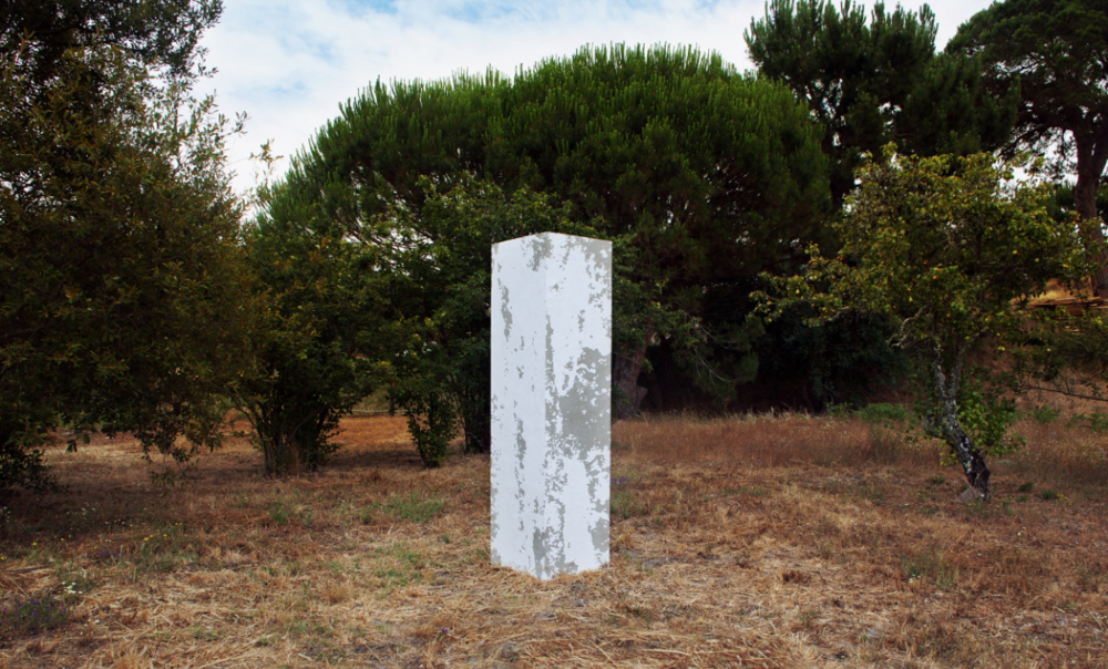 Pedro Matos Even if no one else comes, 2015 Cement, plywood, acrylic paint. 201,5 x 51,5 x 51,5 cm.