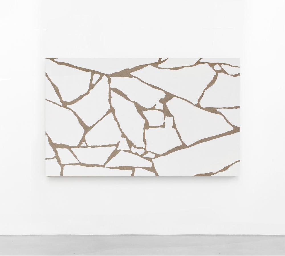 Pedro Matos Untitled (Subliminal Gestures 5),2016 Enamel on raw canvas, wooden stretchers. 184 x 112 cm.