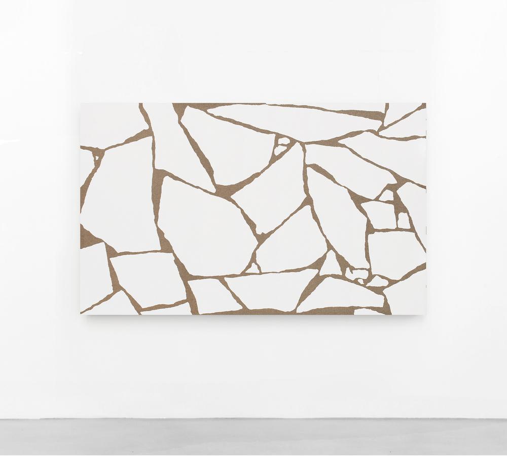 Pedro Matos Untitled (Subliminal Gestures 4),2016 Enamel on raw canvas, wooden stretchers. 184 x 112 cm.