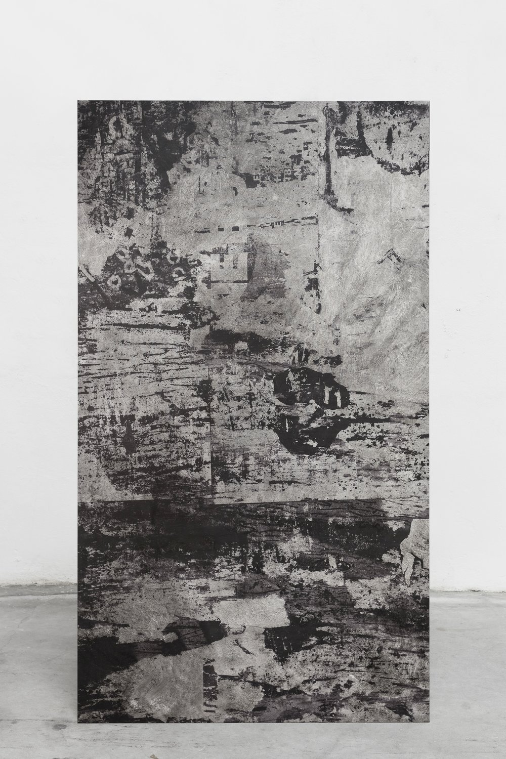 Pedro Matos Efforts to damage and deconstruct, 2016 Oil, spray, ink on canvas, wooden stretchers. 180 x 100 x 3 cm.