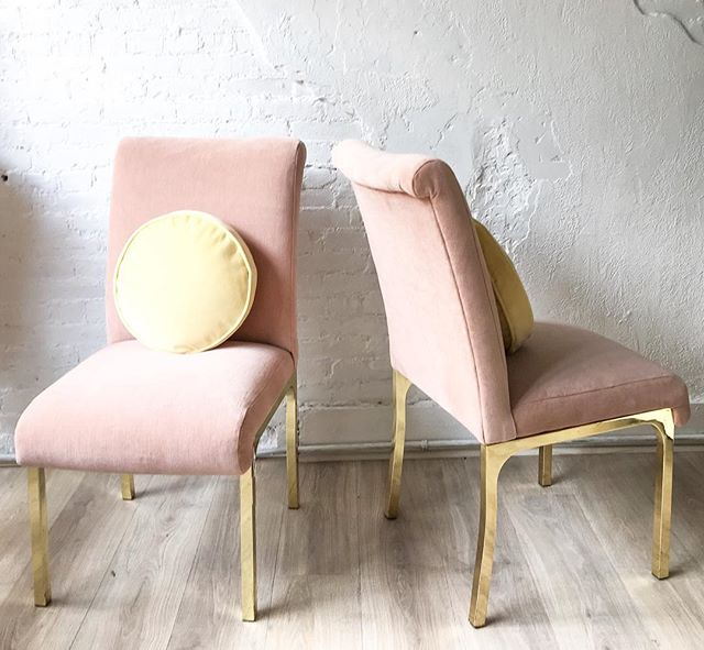 Upholstered Brass High Back Dining Chairs, 4 available.  These beauties are also available in customers fabric of choice, we can work with you to choose a color and material that suits your space best. ✨ #CustomUpholstey #DiningChairs #CustomDiningChairs