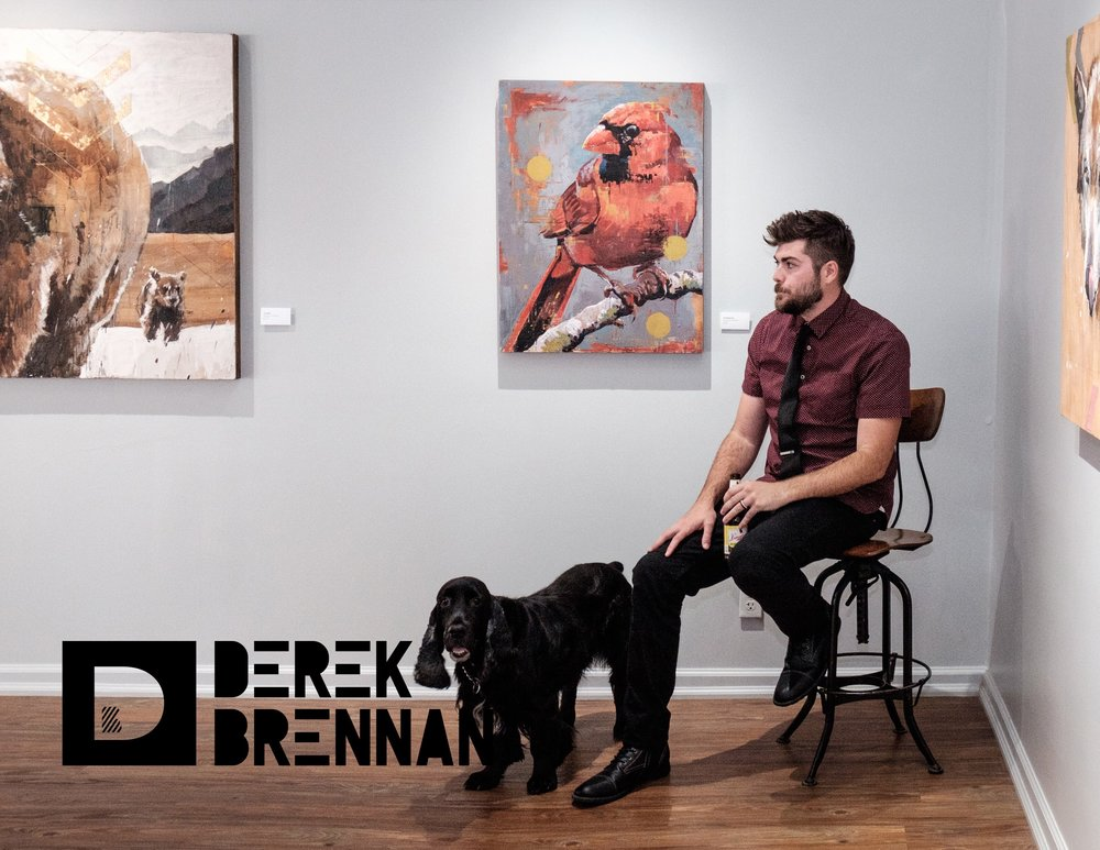 - Derek Brennan, a Cleveland based artist, received a Bachelor's of Fine Arts degree from Bowling Green State University where he served as President of the Two-Dimensional Art Association. During his time at BGSU, he received multiple awards including two Ringholz Art Supply Awards along with first place awards in painting. Post-graduation, Derek worked for a Cleveland clothing company as a graphic designer creating t-shirt designs before transitioning to a full-time art career. He has presented his work at the Toledo Museum of Art, Bay Arts, the International Society of Caricature Artist's annual convention, and Manifest Gallery where he was featured in both their 9th Annual International Drawing publication as well as their Rites of Passage exhibition. This year, Derek was commissioned to create his second mural for the city of Fostoria, Ohio and recently he held a solo exhibition at Loftworks Gallery in Cleveland. He is currently exhibiting work at Morpho Gallery's 6th Annual International Encaustics Exhibition in Chicago, Illinois and Tripoint Medical Center Gallery near Cleveland.