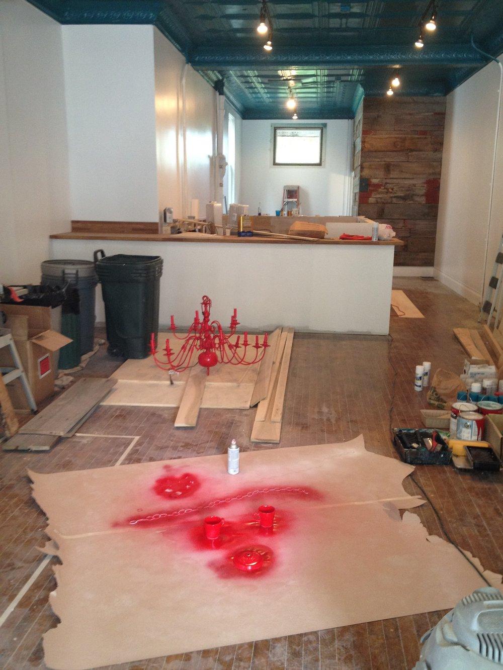 The shop under construction.