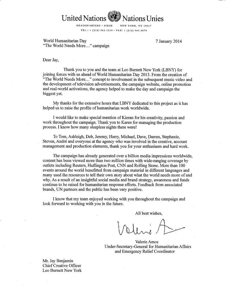 A Thank You Letter From The UnderSecretary General Of The Un