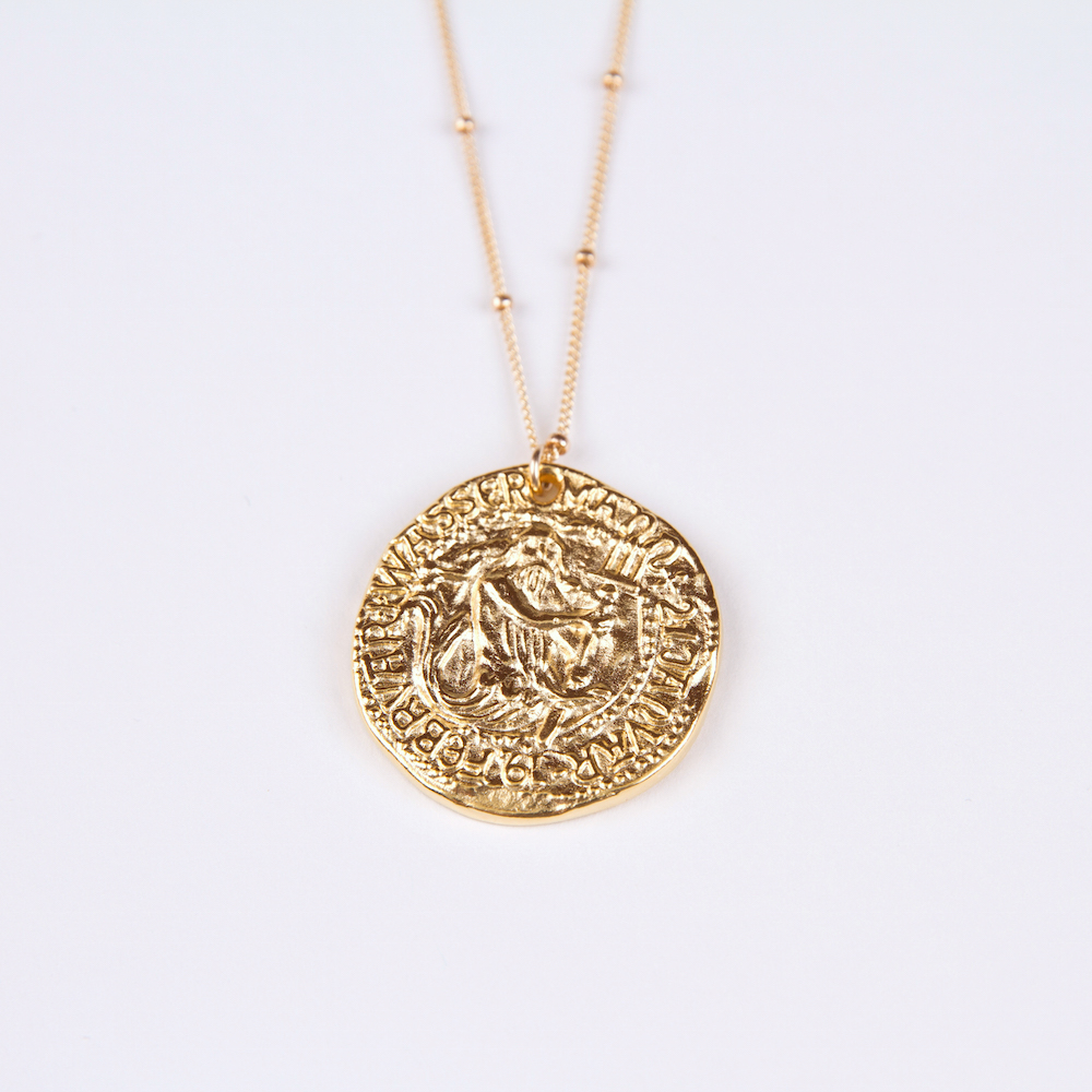 with poseidon coin pendant brown property eye l room tiger