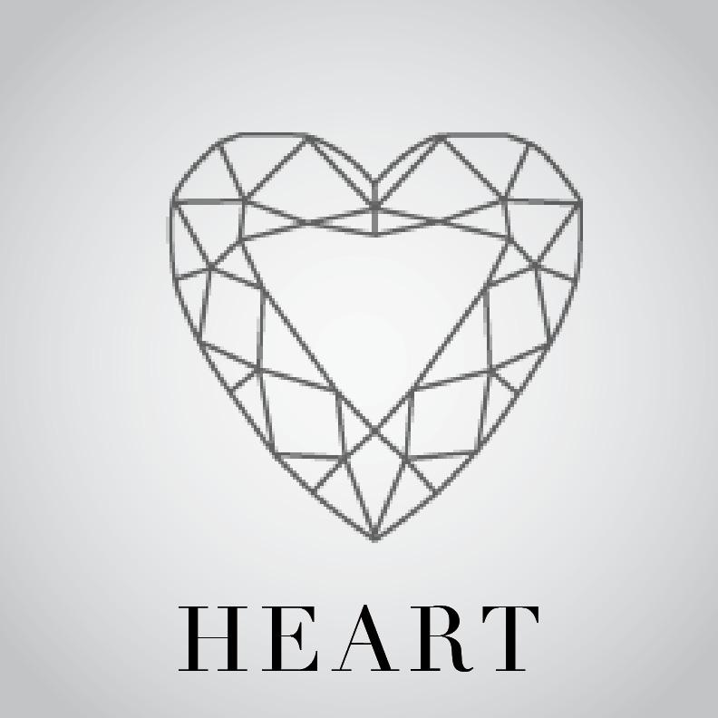 Line Drawing Heart Shape : Cushion ledeen diamond co
