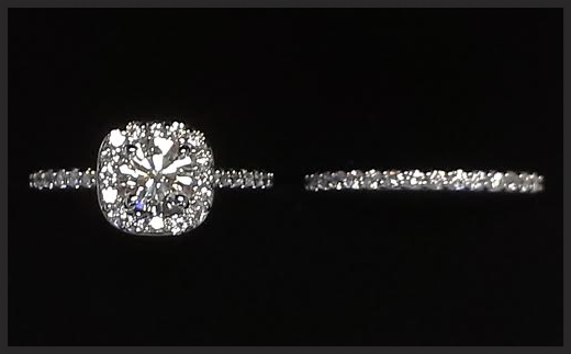 Ordered in Okinawa, manufactured in Texas, proposed in Florida. Platinum bridal set: 1.48 Carats Total Weight
