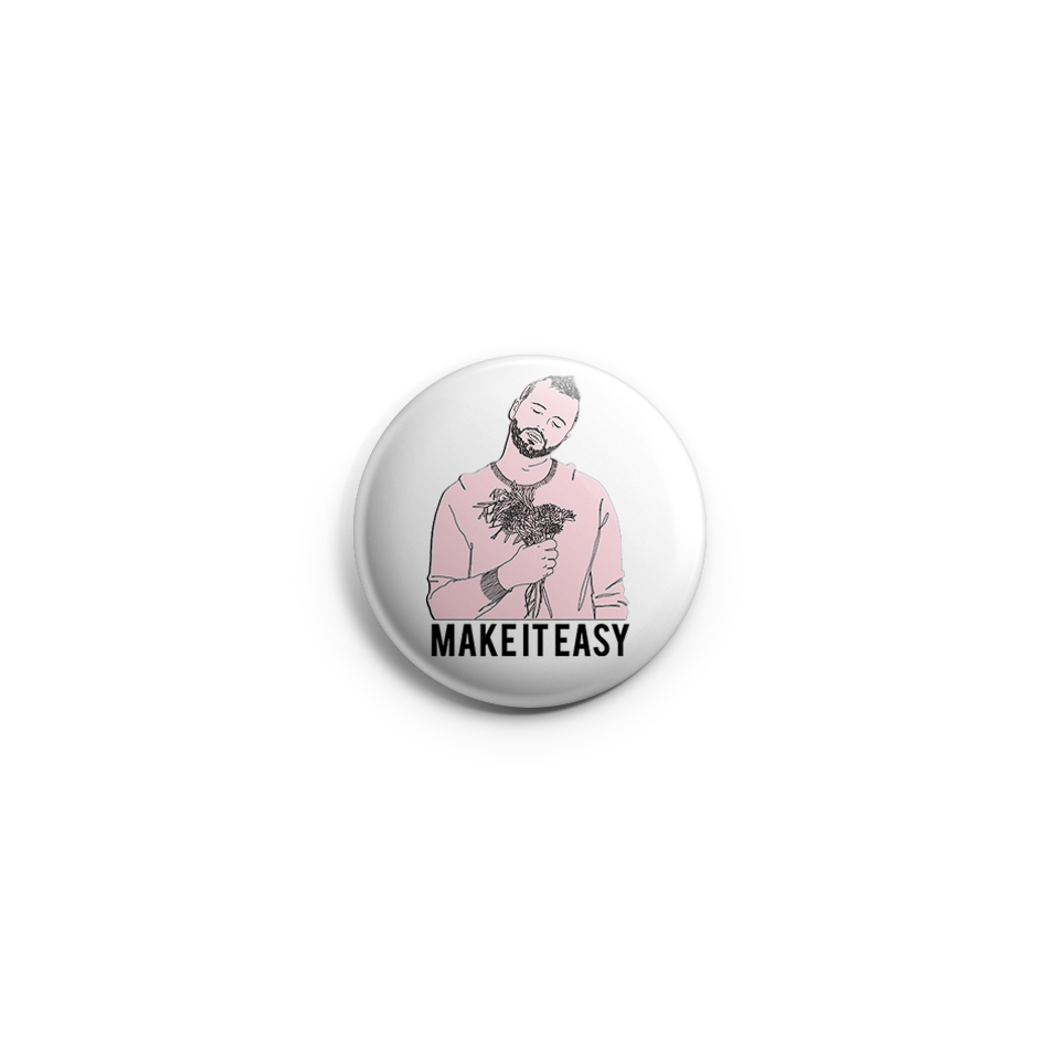 "Thomas Graff ""Make It Easy"" Pink Portrait Illustration Button by RoMillion $4"