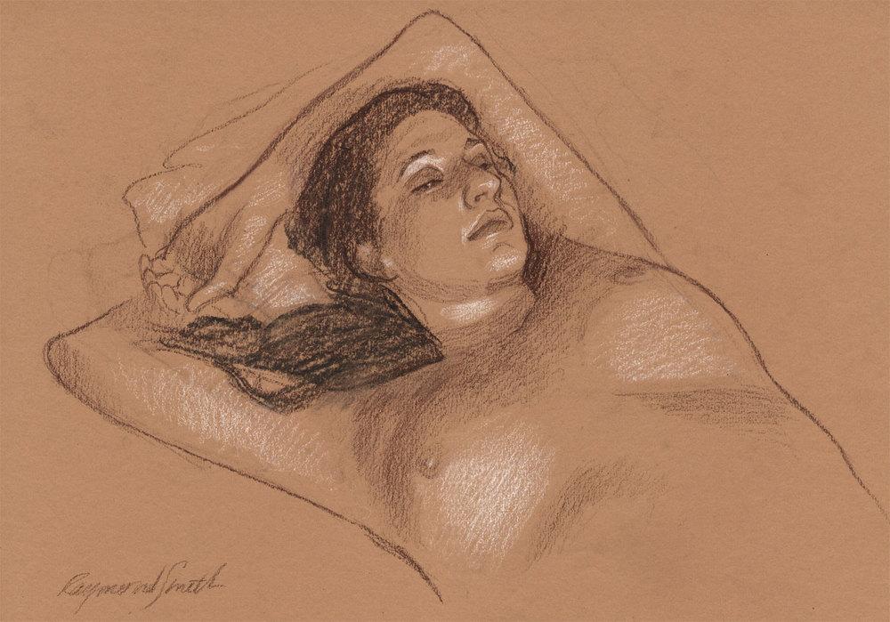 """Audrey    Conté &chalk  12"""" X 18""""  2011"""