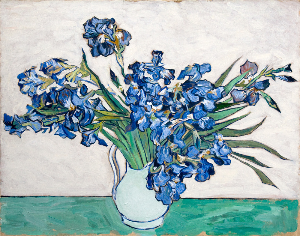"Irises   after  Vincent Van Gogh    Oil  24"" X 30""   2003 Painted from the original at the Metropolitan Museum of Art, NYC"