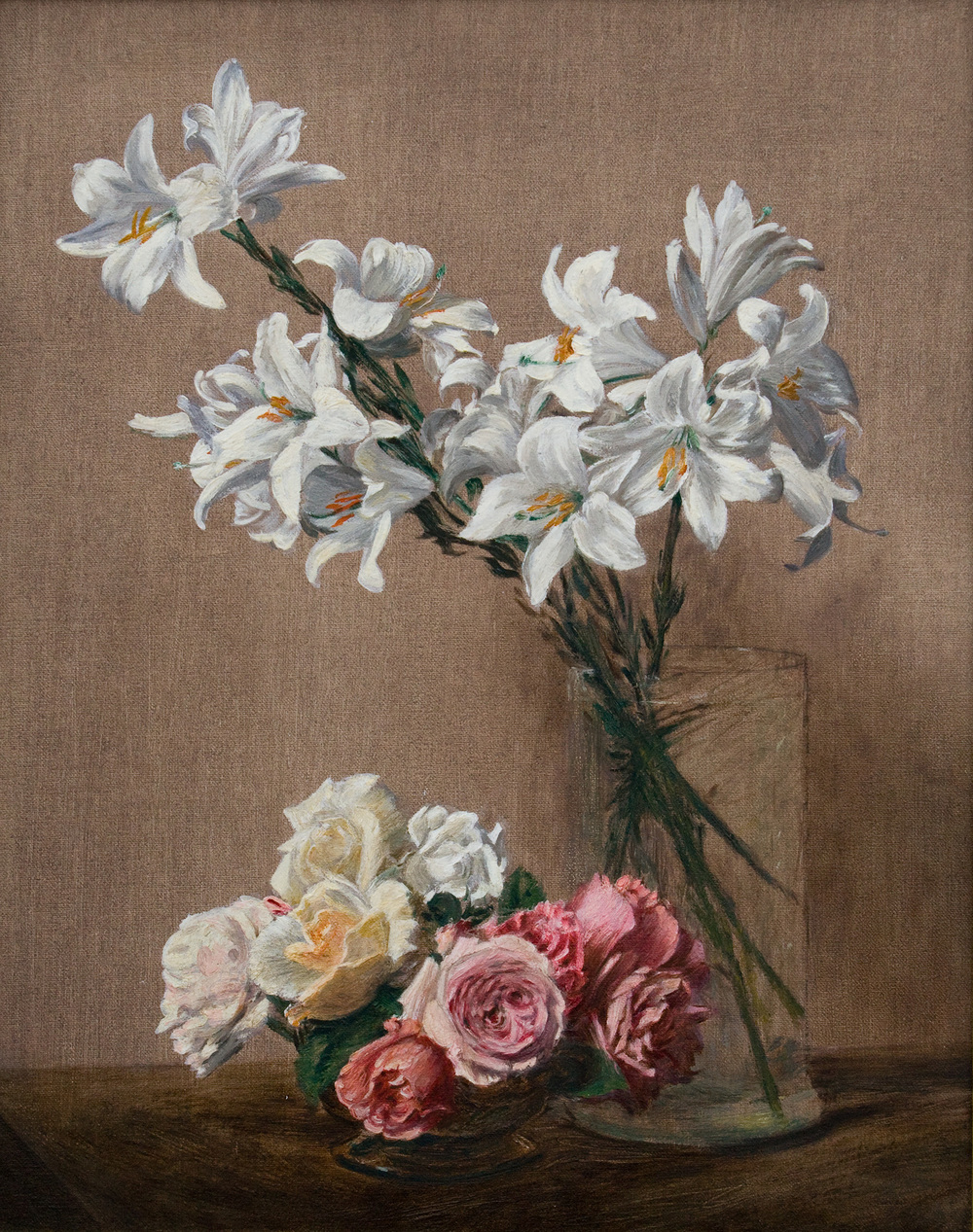 "Roses and Lillies   after  Fantin-Latour    Oil   16"" X 20""   2004 Painted from the original in the Metropolitan Museum of Art, NY NY"