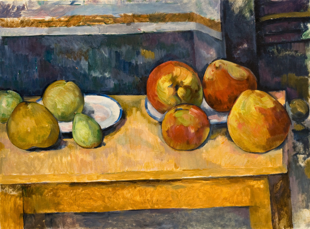 "Apples and Pears   after  Paul Cezanné    Oil/canvas  19.5"" X 25.5""   2005 Painted from the original at the Metropolitan Museum of Art, NY NY"