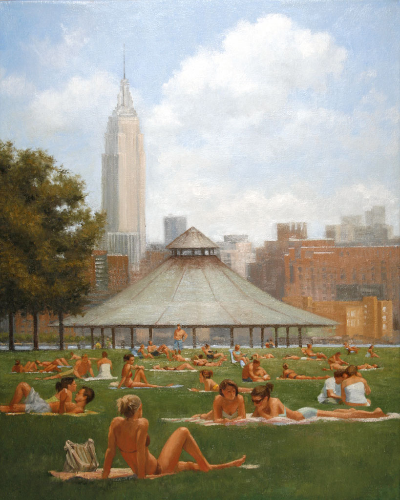 "Sunbathers, Pier A     Oil/Canvas   16"" X 20""   2007 Collection of Hoboken Historical Museum"