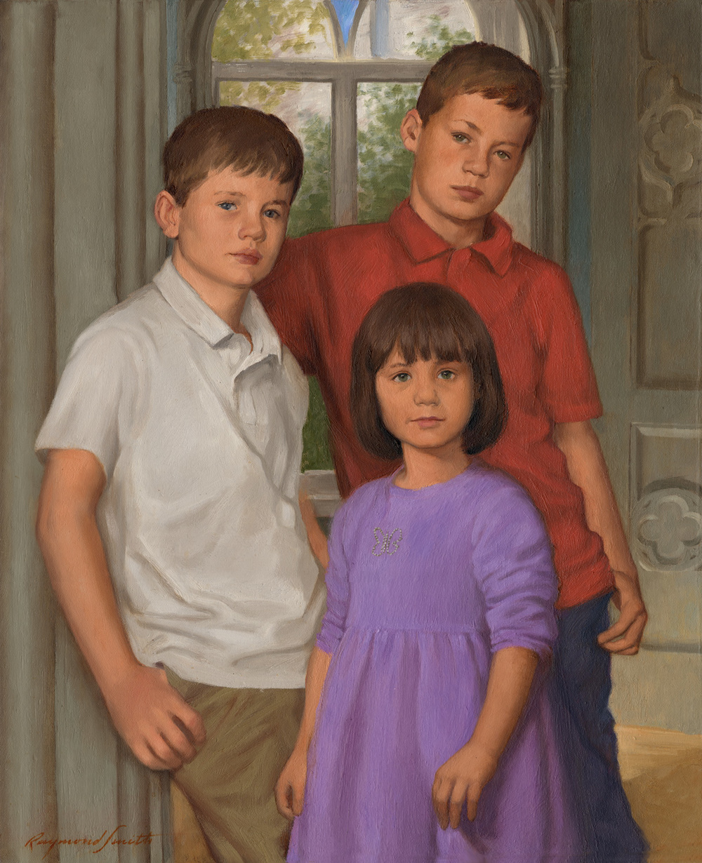 "Calvin, Tessa and Jackson     Oil/canvas   20"" X 24""   2011  Collection of Carol Losos and Judson Weaver"