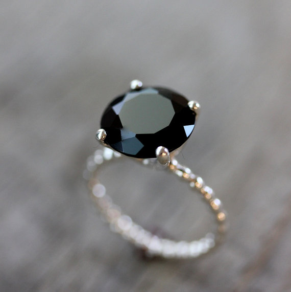 Handmade Silver Gemstone Ring Engagement Ring Black Diamond Alternative Ring Black Spinel Ring with Silver Bubble Band