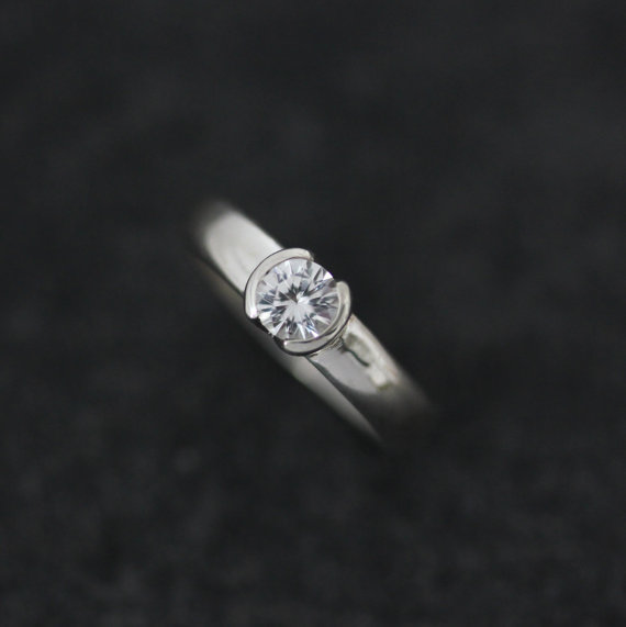 white sapphire and sterling silver half bezel set engagement ring low profile half moon bezel - White Sapphire Wedding Ring Sets