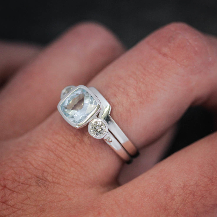 Wide Wrap Style Band For Our 6 7mm Cushion Cut Rings Stacking Ring Wedding