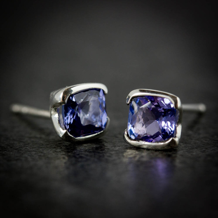 studs cut cushion square blue silver gemstone sterling purple tanzanite img and earrings
